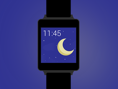Flat LG G Watch Mockup  android wear mockup free download lg g watch stars time night moon