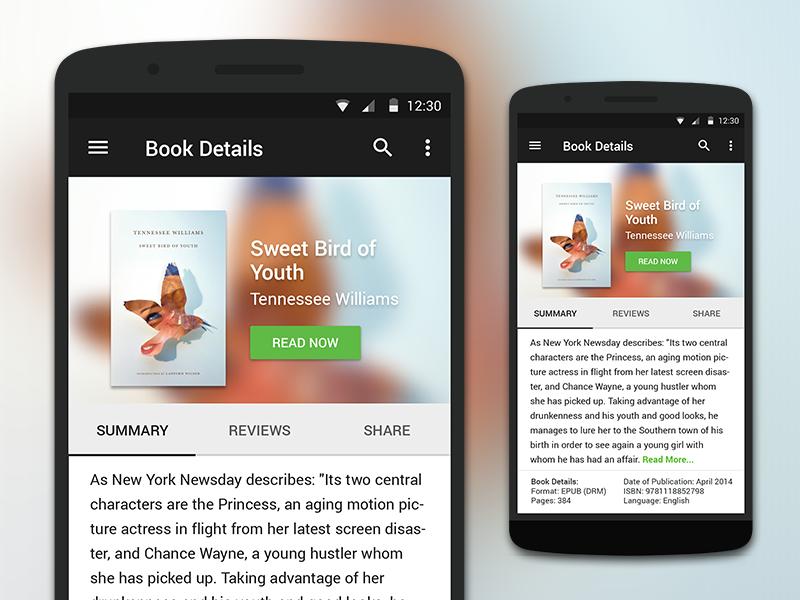 Material Design Rebound android rebound ui reading ebook mobile app ui design material design mobile app mobile design