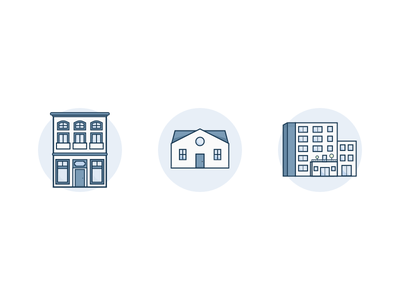 Apartment - House - Office Placeholder icons blue illustration image icons office house apartment