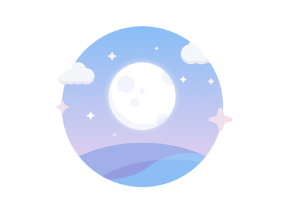 Moonrise Illy night starry earth sky reject sketch illustration stars gradient space moonrise moon