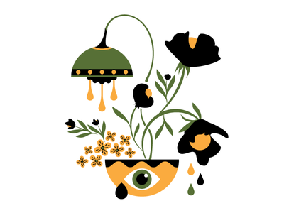 Sad & funky flowers society6 art abstract green yellow black sad funky flowers vector illustration
