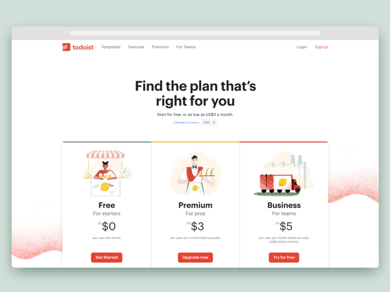 Todoist Pricing Page website web design illustration landing page marketing project real live app icon todoist task management pricing todo web design productivity