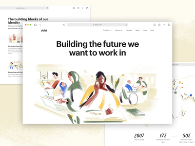 New Doist Website task management real project colorful tech workplace productivity homepage home page team page aboutus values marketing design web design illustration landing page design
