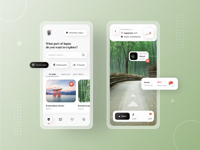 AR Travel Guide japanese concept app red nature inspiration background minimal black and white green japan travel japan ui navigation