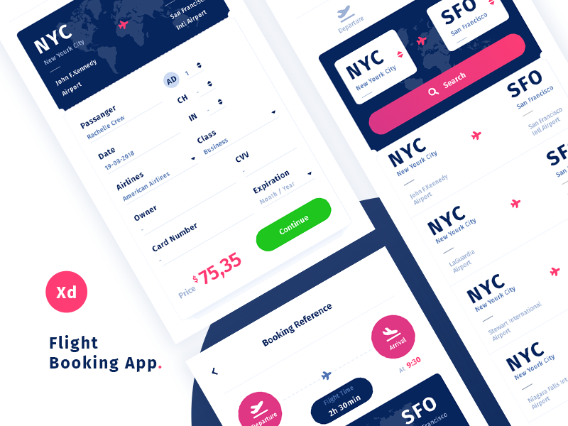 Download Airport App Challenge | Free Adobe XD Template
