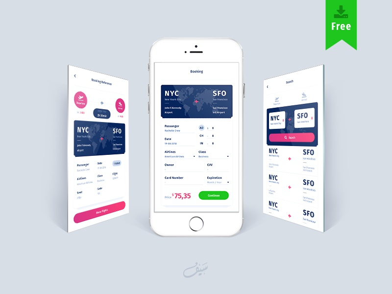 Flight Booking App | Free Adobe XD Template by Seyfeddine