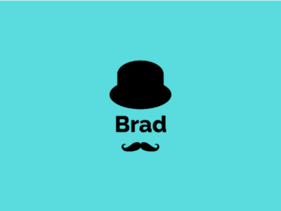 Brad Personal Logo face emblem logo mark personal logo hat mustache combination mark