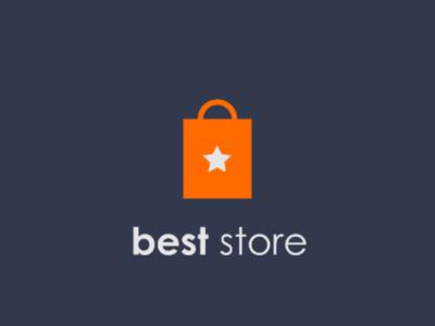 Best Store Logo Design e-commerce logo business logo pictorial mark best store star shopping bag shopping logo logo design brand identity brand designer branding logo