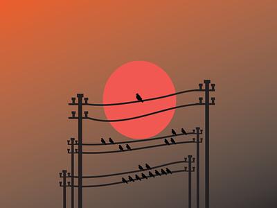 bird sunset art vector adobe illustrator travel illustrator