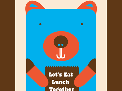 Lunch Bear 1 friends buddy bear lunch organic natural illustration blue orange design lunch bag