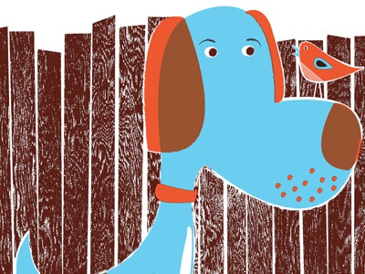 Bird Dog & Bird, adding textures wood grain texture dog bird blue baby blue orange overprint color overlay strawberryluna illustration