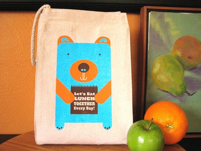 Lunch Bear lunch bag lunch bear eco friendly screen printed silkscreen design illustration lunch bag blue orange brown cotton recycled canvas natural eco conscious good products