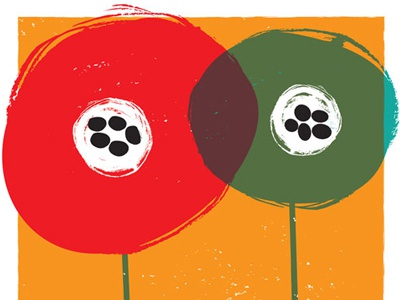 Andrew Bird & Death Cab For Cutie  rock poster gig poster silkscreen poster screen print hand pulled hand printed illustration overprint color overlay andrew bird death cab for cutie red orange teal black poppies abstract flowers