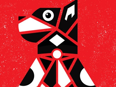 Woof! dog totem poster rock poster gig poster silkscreen screen print hand printed hand pulled pittsburgh strawberryluna red black white