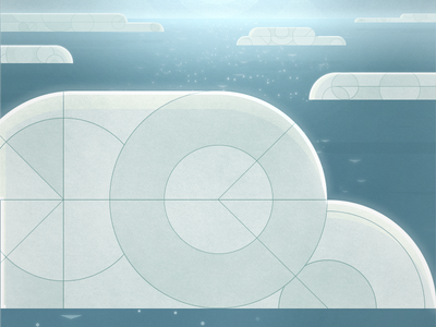 Creation: Day 2 atmosphere geometric illustration blue clouds