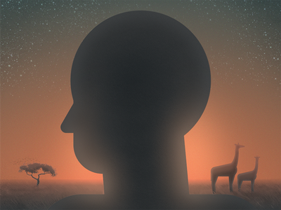 Creation: Day 6 silhoutte sunset human plain tree giraffe
