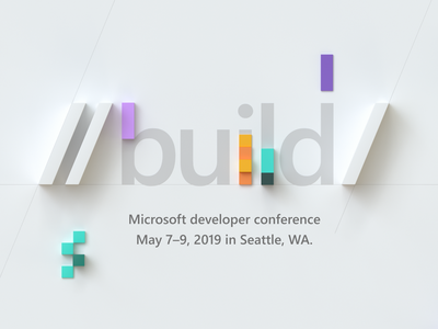 Microsoft Build colorful branding cubes 3d conference developer build