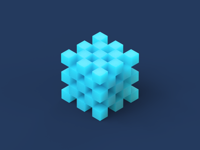 Microsoft Fluent Design System cinema4d geometric geometry illustraion blue motion 3d c4d cube fluent microsoft