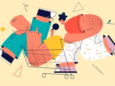 Shopping giometry friendship simple fun shopping color illustration character
