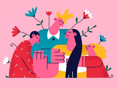 Family love color illustration people together family tree happy