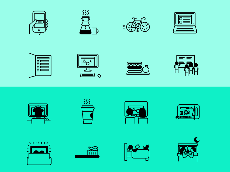 Day in the Life Icon Set icons icon icon set free download downloadable icon set iphone breakfast bike laptop list notebook work