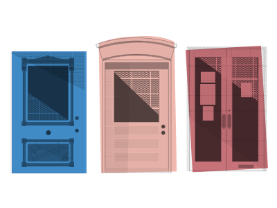 Doors of North Lexington doors shading color studies downtown neighborhoods blue pink rectangular