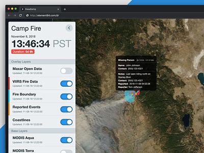 E84 Headlamp element 84 emergency disaster response satellite imagery user interface