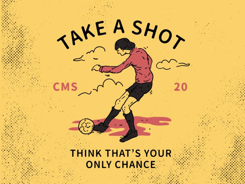 Take a Shot branding retro tshirt design soccer sports vector character vintage badge vintage logo illustration