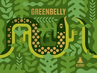Greenbelly Triple IPA leaves lizard beer label beer