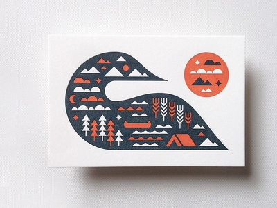 Greetings From Canada canada letterpress loon tent canoe outdoors