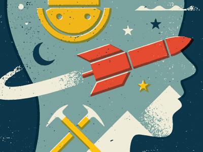 Adventure boy space scuba mountain climbing rocket