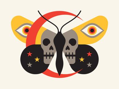 Moth moth moon skull eye
