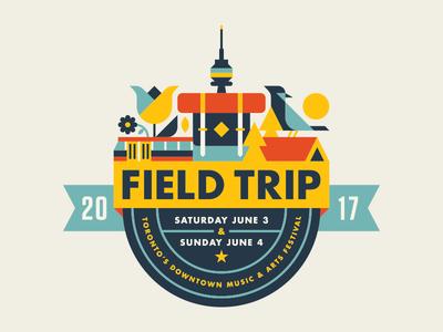 Field Trip 2017 trees backpack tent flowers bird banner badge toronto festival