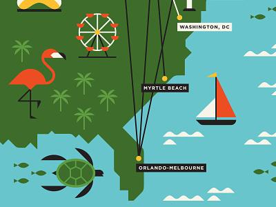 Porter Airlines fish turtle sailboat ferris wheel waves sea flamingo map