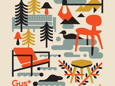 Gus Modern clouds mountains chair sofa lumber canada nature loon furniture
