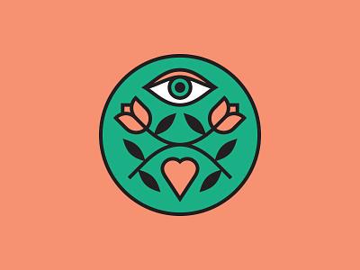 Three Little Words eye logo branding leaves heart flowers eye