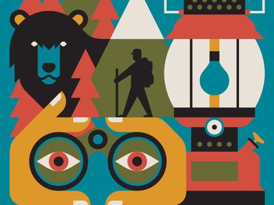 The Adventure-Driven Life hiking trees mountains binoculars hand lantern bear cover book