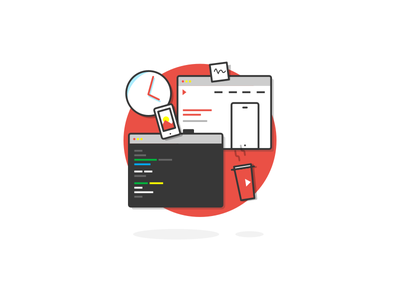Project Flow - Code Development responsive mobile coffee clock red programing development back-end developer fron-end flow code