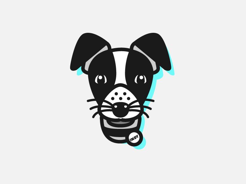 PUP001 - Indy logo vector illustration terrier mutt puppy dog
