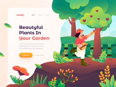 Seedify Illustration design header design ui green website landing pages hero gardening illustration header