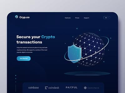Cryp.co Landing Page banner hero design header landing page ui
