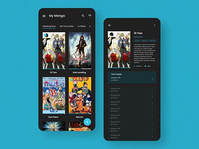 Manga Reader App redesign concept redesign figma book app book mobile reader app dark app ux dark ui dark anime manga