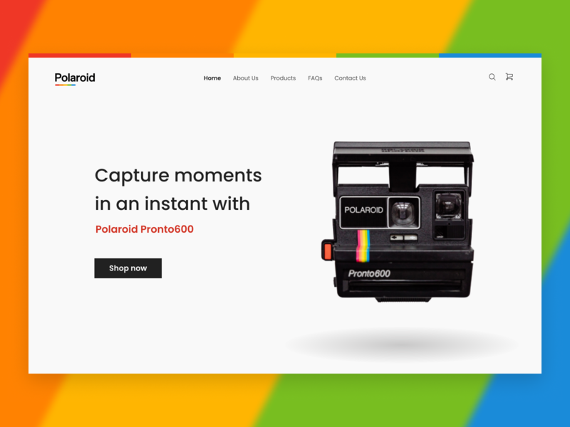 Polaroid Landing Page figma camera homepage design homepage landing page design dailyuichallenge dailyui minimalist color ui polaroid landingpage