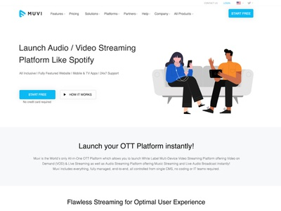Landing page for Muvi