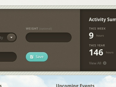 Dashboard for an excercise tracking website dashboard ui text box buttons summary