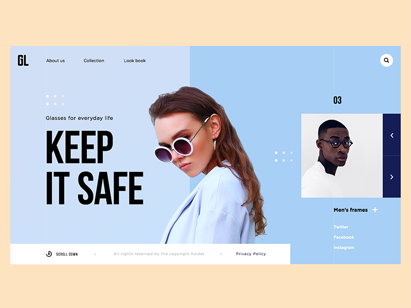GL Glasses E-commerce Website fashion ux ui web minimal color interface solid typography promo