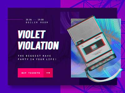 Violet Violation music event promo color ui website promotion party rave glitch