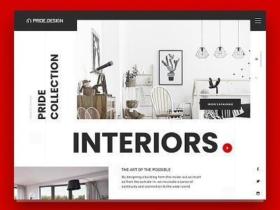 Pride Interiors Promo Website interior ux ui web minimal color interface solid typography promo