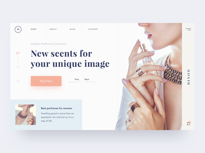 Scent of a woman web ux ui typography solid promo perfume minimal interface fashion color