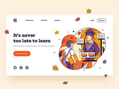 🎓 Back 2 School vector design typography hero website clean graphic landing education color ui illustration promo